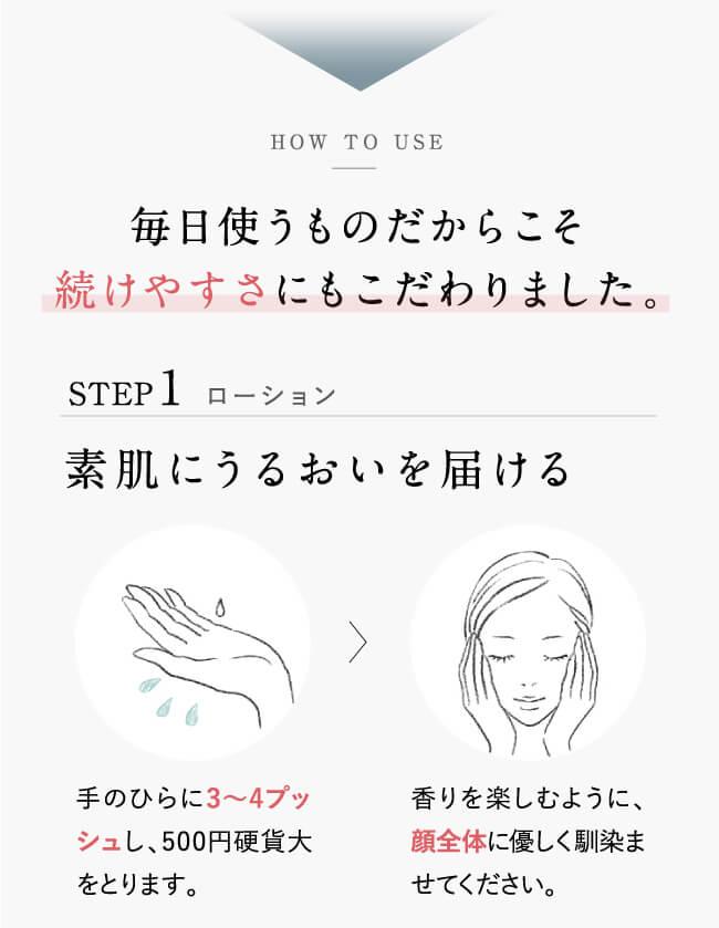 毎日使うものだからこそ続けやすさにもこだわりました。STEP1.ローション。素肌にうるおいを届ける。手のひらに3~4プッシュし、500円硬貨大をとります。香りを楽しむように、顔全体に優しく馴染ませてください。
