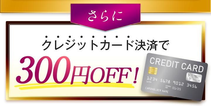 クレジットカード決済で300円OFF!