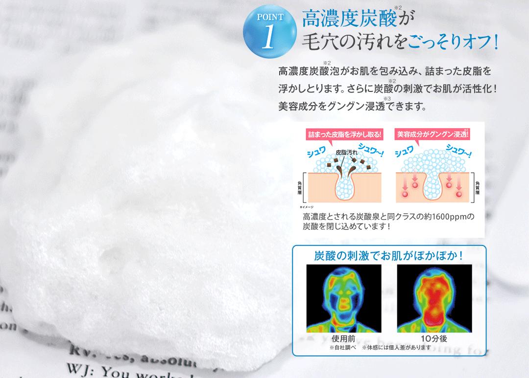 POINT1 高濃度炭酸が毛穴の汚れをごっそりオフ!