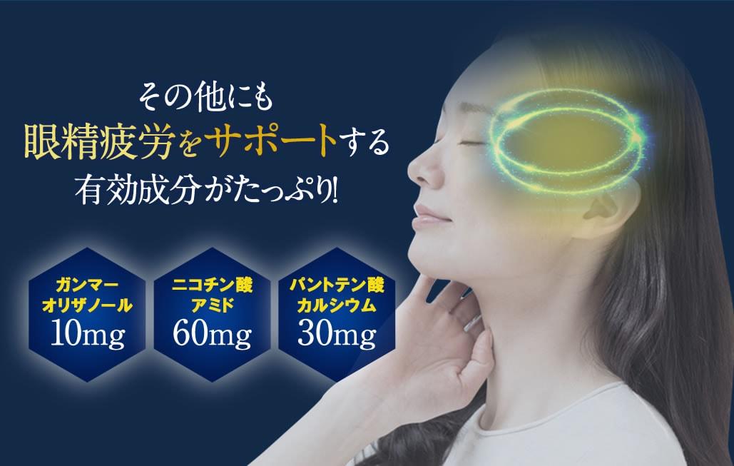 その他にも眼精疲労をサポートする有効成分がたっぷり! ガンマオリザノール10mg ニコチン酸アミド60mg パントテン酸カルシウム30mg