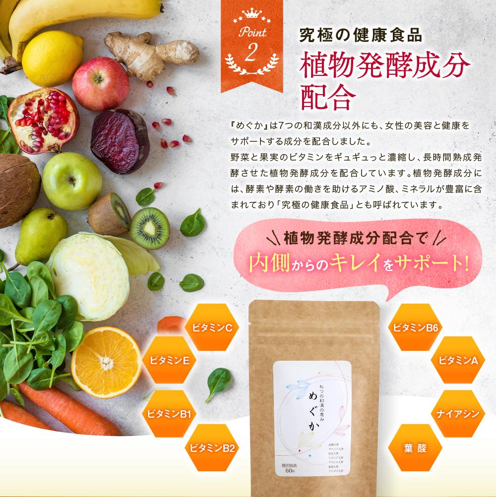 ポイント2.究極の健康食品、植物発酵成分配合
