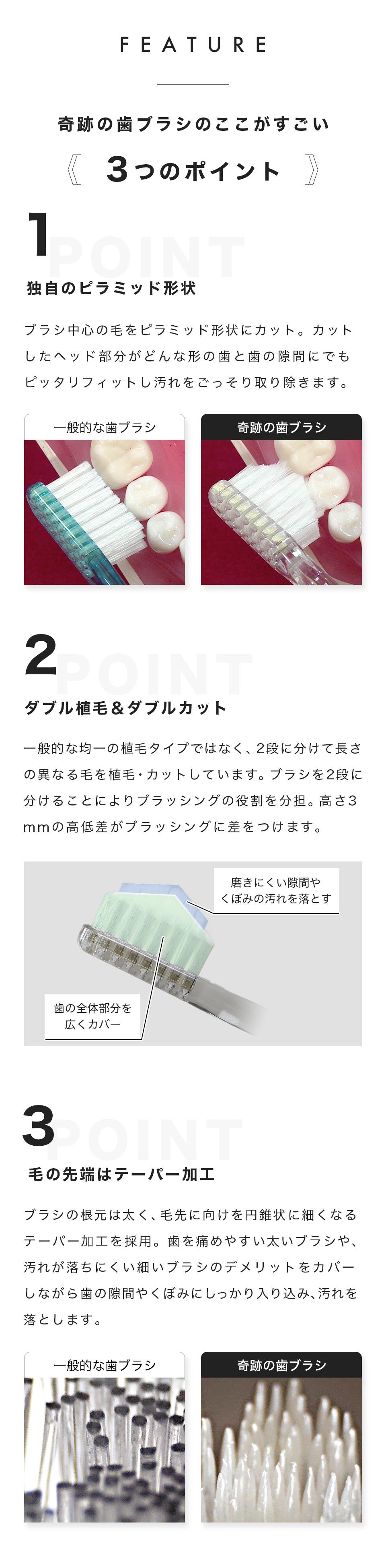 feature 奇跡の歯ブラシのここがすごい 3つのポイント