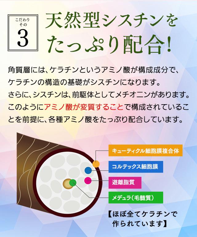 【こだわりその3】天然型シスチンをたっぷり配合