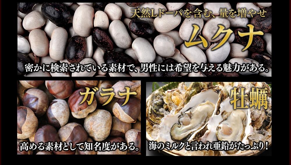 天然Lドーパを含む、量を増やせ「ムクナ」 高める素材として知名度が高い「ガラナ」 海のミルクといわれ亜鉛が豊富な「牡蠣」