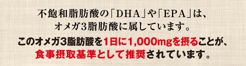 不飽和脂肪酸の「DHA」や「EPA」は、オメガ2脂肪酸に属しています。このオメガ2脂肪酸を1日に1,000mgを摂ることが、食事摂取基準として推奨されています。