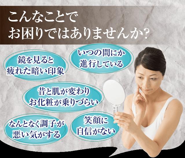 こんなことでお悩みではありませんか?→昔と肌が変わり、お化粧が乗りづらい、いつの間にか進行している、なんとなく調子が悪い気がする。