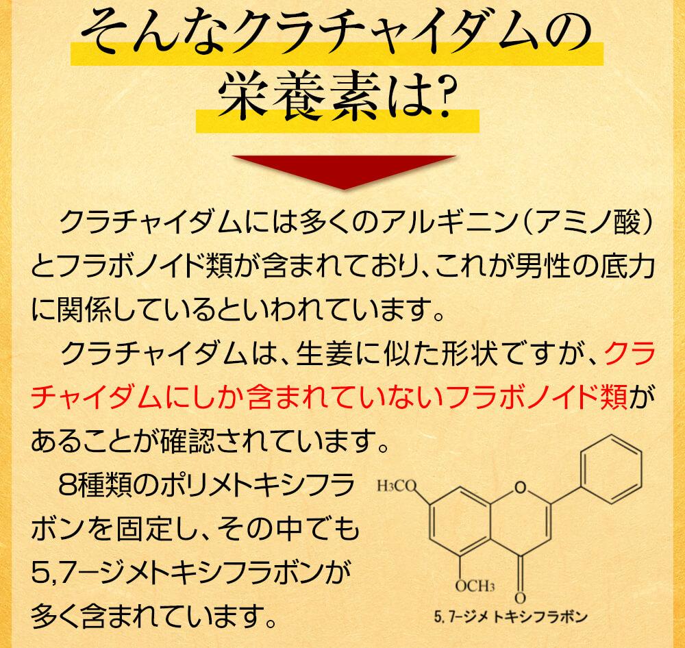 クラチャイダムにしか含まれていないフラボノイド類があることが確認されています。