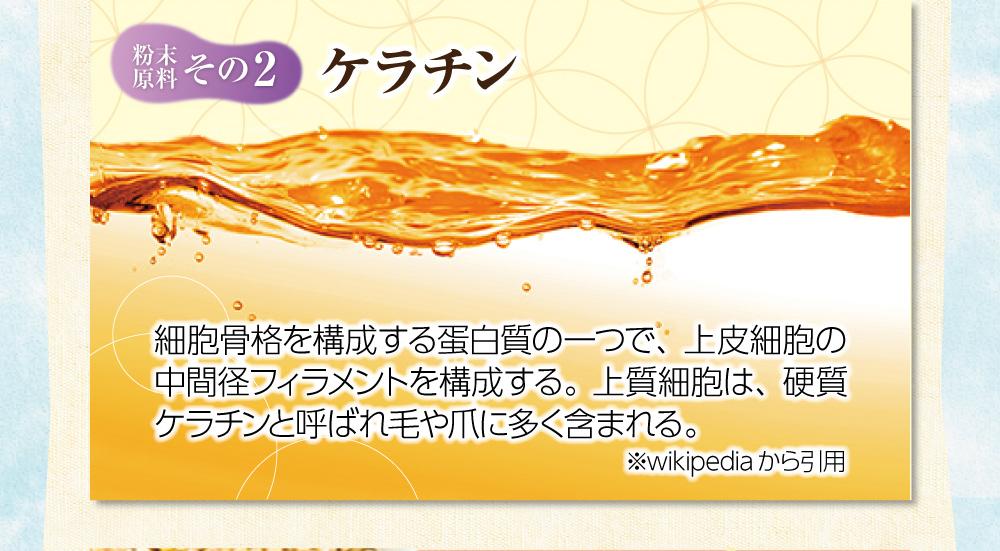 【粉末原料:その2】ケラチン。細胞骨格を構成する蛋白質の一つで、上皮細胞の中間径フィラメントを構成する。上質細胞は、硬質ケラチンと呼ばれ毛や爪に多く含まれる。※wikipediaから引用