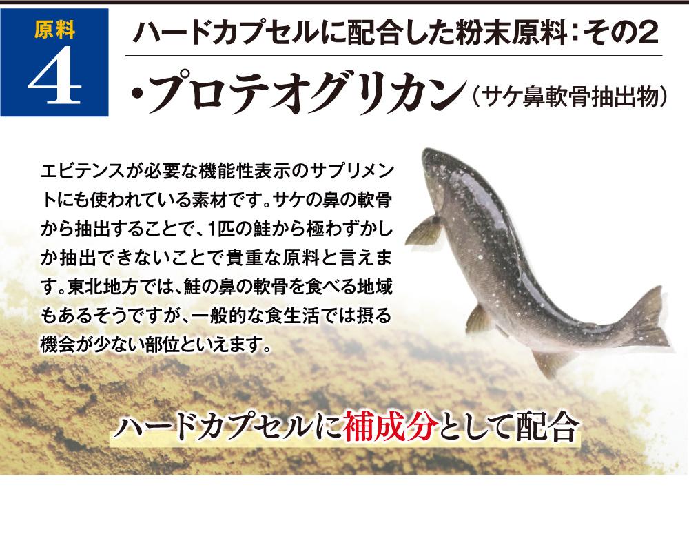 ハードカプセルに配合した粉末原料:その2 プロテオグリカン(サケ鼻軟骨抽出物) エビテンスが必要な機能性表示のサプリメントにも使われている素材です。サケの鼻の軟骨から抽出することで、1匹の鮭から極わずかしか抽出できないことで貴重な原料と言えます。東北地方では、鮭の鼻の軟骨を食べる地域もあるそうですが、一般的な食生活では摂る機会が少ない部位といえます。ハードカプセルに補成分として配合