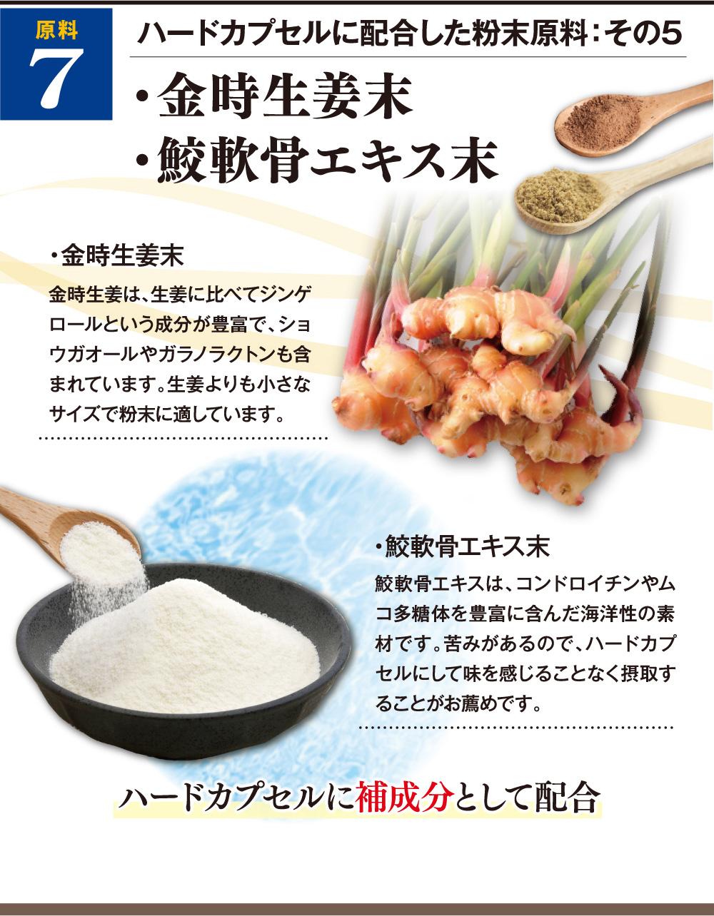 ハードカプセルに配合した粉末原料:その5 ・金時生姜末(金時生姜は、生姜に比べてジンゲロールという成分が豊富で、ショウガオールやガラノラクトンも含まれています。生姜よりも小さなサイズで粉末に適しています。)・鮫軟骨エキス末(鮫軟骨エキスは、コンドロイチンやムコ多糖体を豊富に含んだ海洋性の素材です。苦みがあるので、ハードカプセルにして味を感じることなく摂取することがお薦めです。)ハードカプセルに補成分として配合