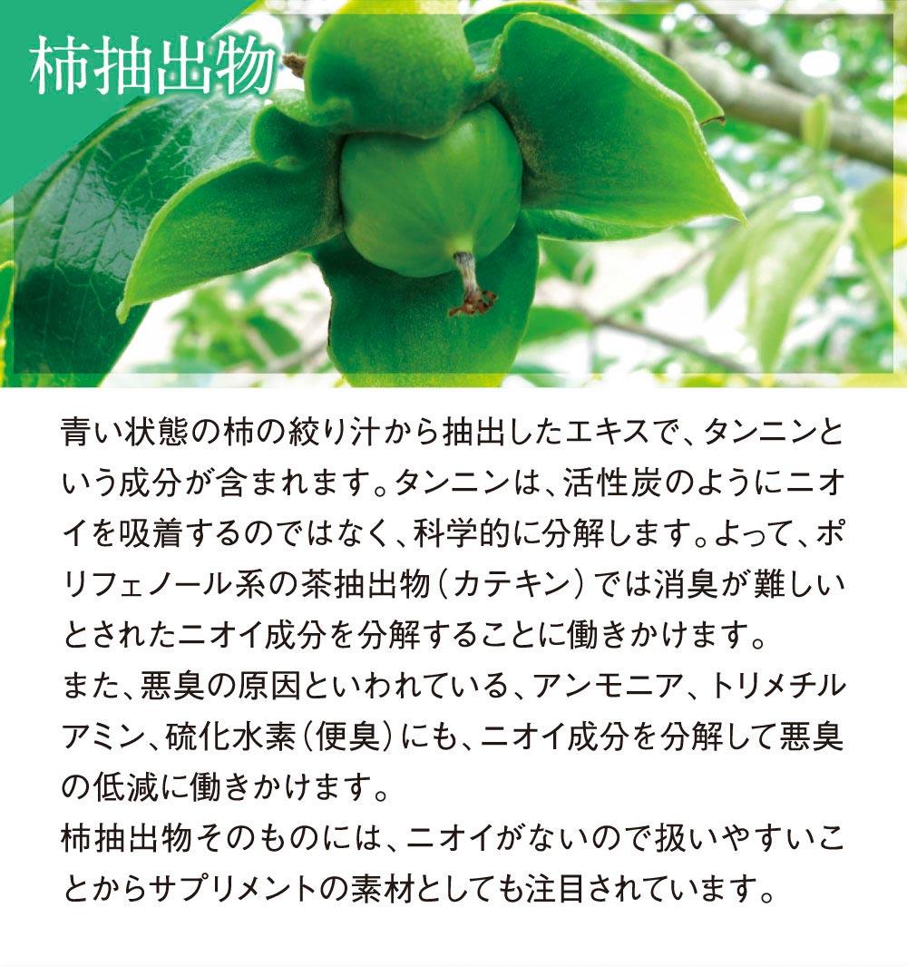 柿抽出物:アンモニア、トリメチルアミン、硫化水素にもニオイ成分を分解して悪臭の低減に働きかけます