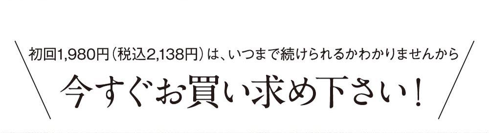 初回1980円はいつまで続けられるかわかりませんから今すぐお買い求めください!