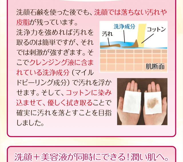 洗顔石鹸を使った後でも洗顔では落ちない皮脂や汚れが残っています。洗浄力を強めると肌に刺激を与えるので、マイルドピーリング成分で汚れを浮かせて落とす設計にしています。