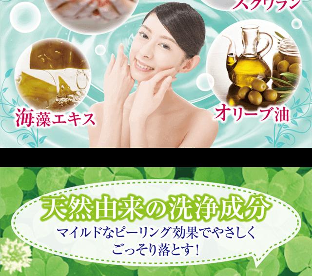 洗顔できる美容液成分:セラミド・スクワラン・海藻エキス・オリーブ油。天然由来の洗浄成分(マイルドなピーリング効果でやさしくごっそり落とす)