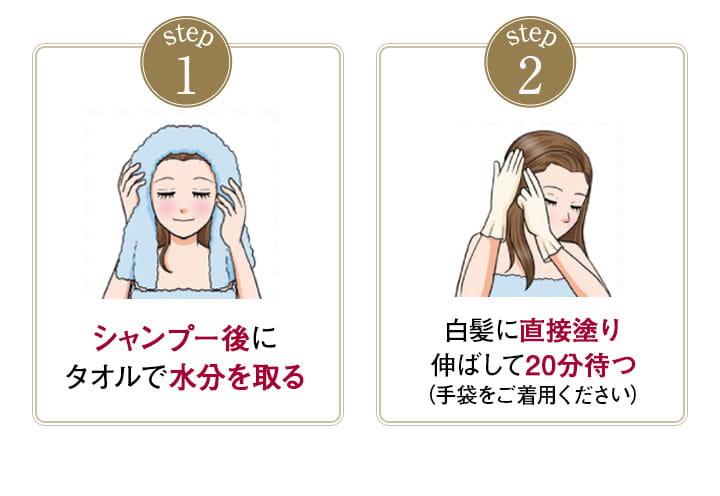1.シャンプー後にタオルで水を取る2.白髪に直接塗り伸ばして20分待つ