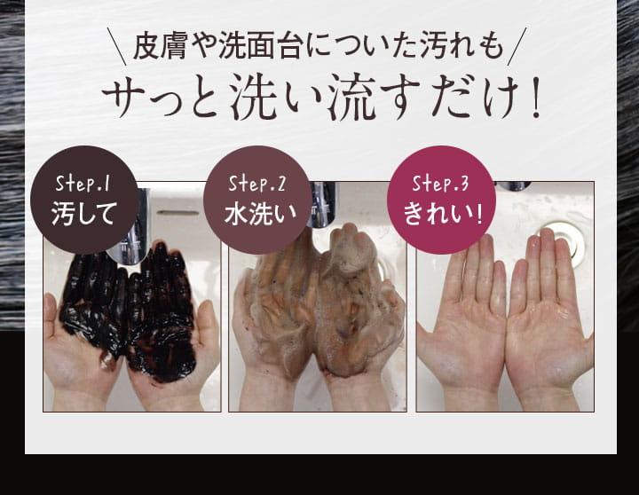 皮膚や洗面台についた汚れもサッと洗い流すだけ