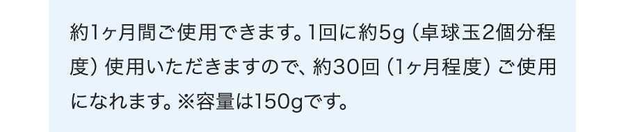 約1ヶ月間ご使用できます。1回に約5g(卓球玉2個分程度)使用いただきますので、約30回(1ヶ月程度)ご使用になれます。※容量は150gです。