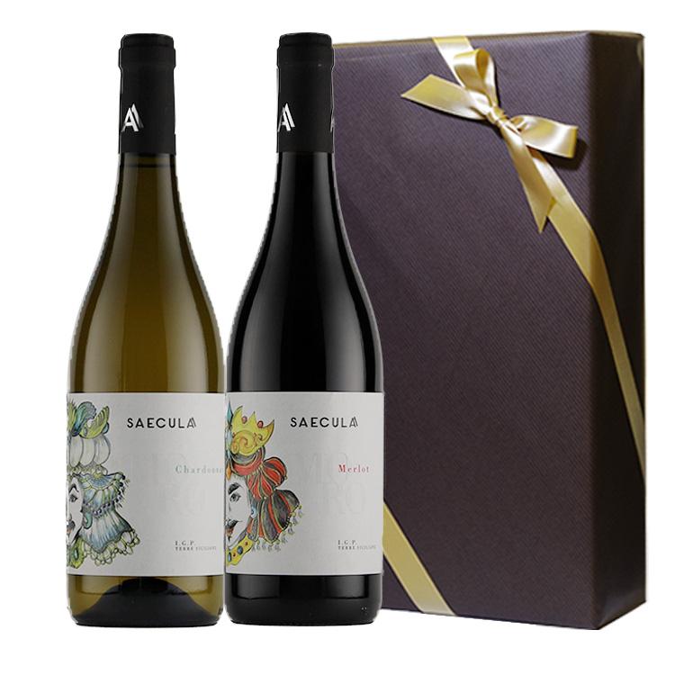 【大人気シチリアワイン・セクラシリーズ】紅白ギフト(メルロー&シャルドネ)