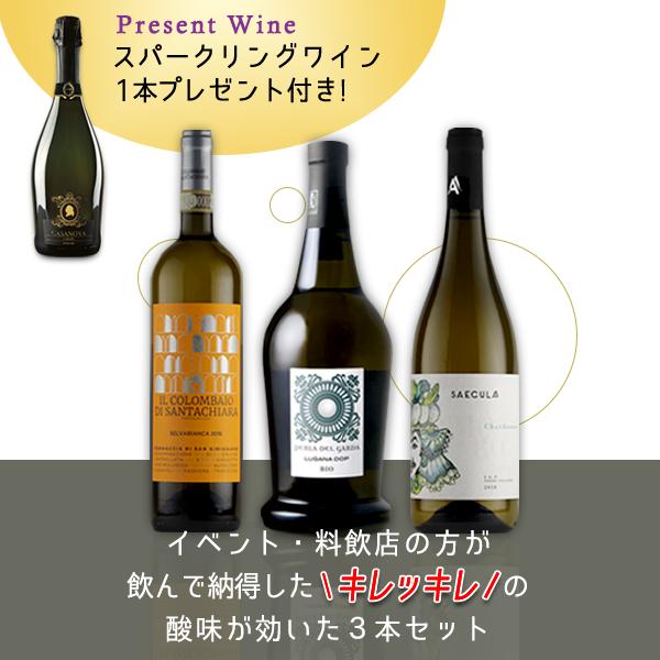 【スパークリングワイン付】 イベント・料飲店の方が飲んで納得したキレッキレの酸味が効いた3本セット