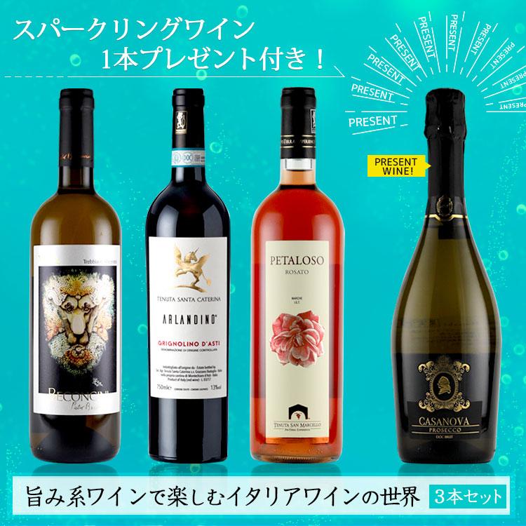 【プロセッコ1本付き!】旨み系ワインで楽しむイタリアワインの世界3本セット