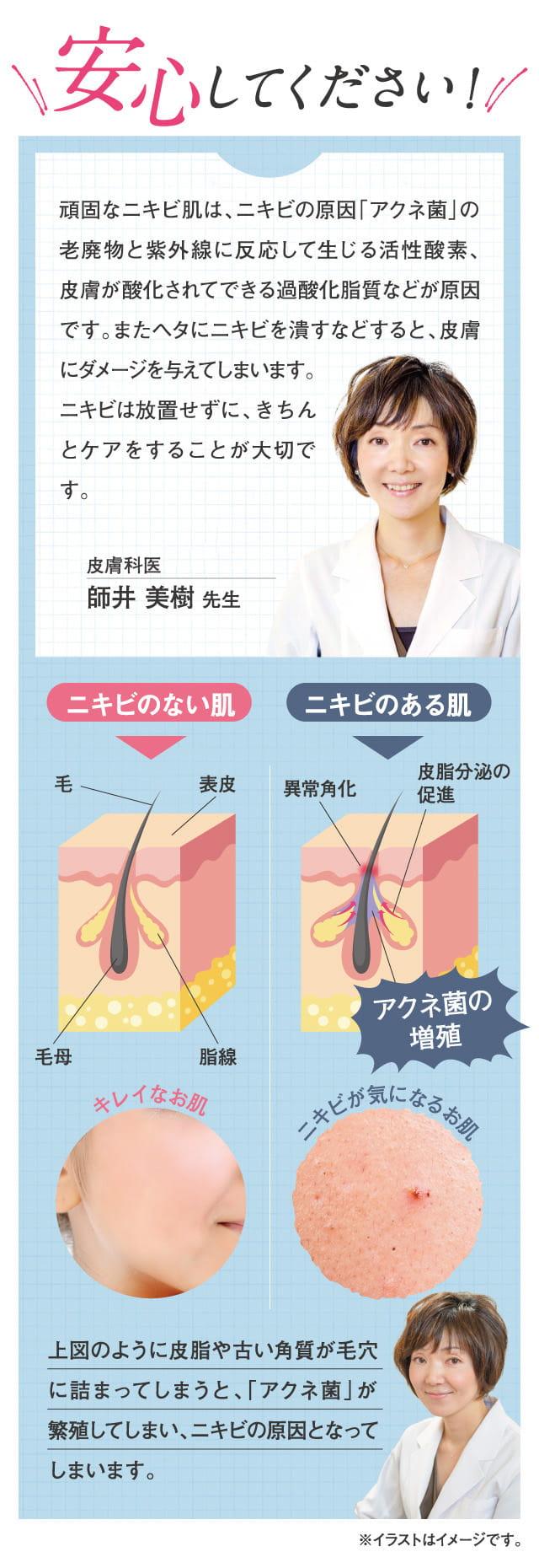 安心して下さい!頑固なニキビ肌はキチンとケアすることが大切。