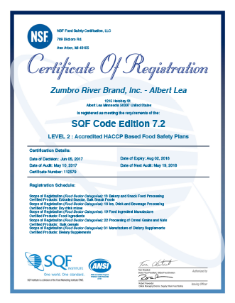 NSF certification of requistration