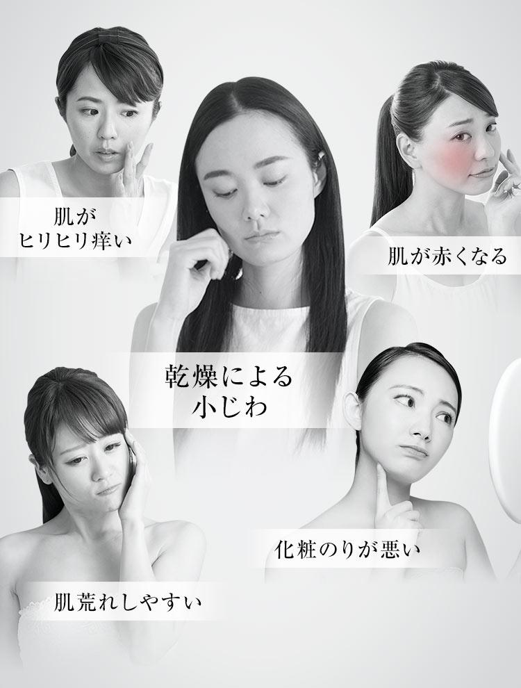 乾燥による小じ・肌がヒリヒリ痒い・肌が赤くなる・肌荒れしやすい・化粧のりが悪いわ
