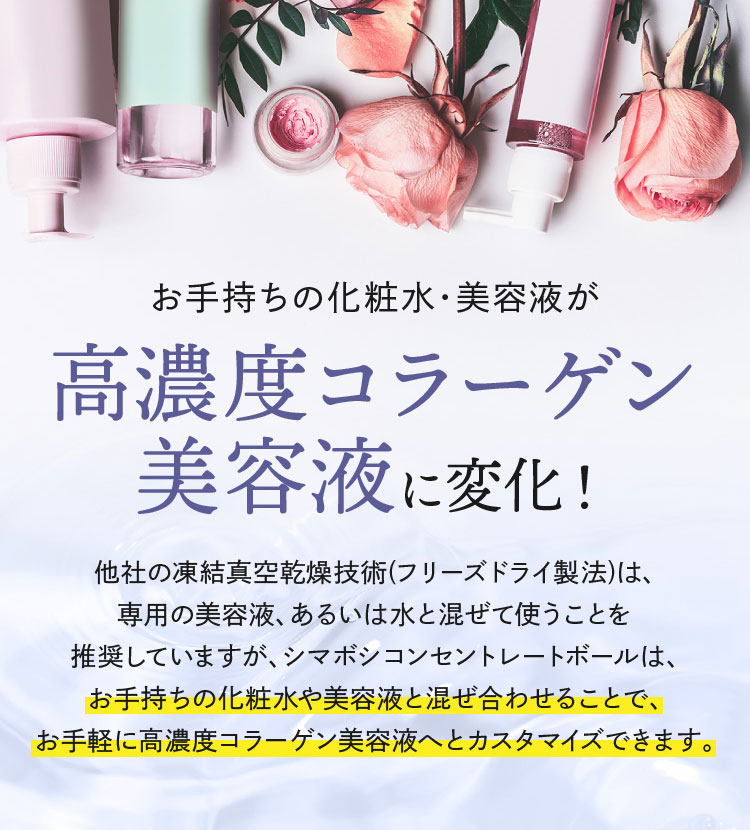 お手持ちの化粧水・美容液が高濃度コラーゲン美容液に変化!