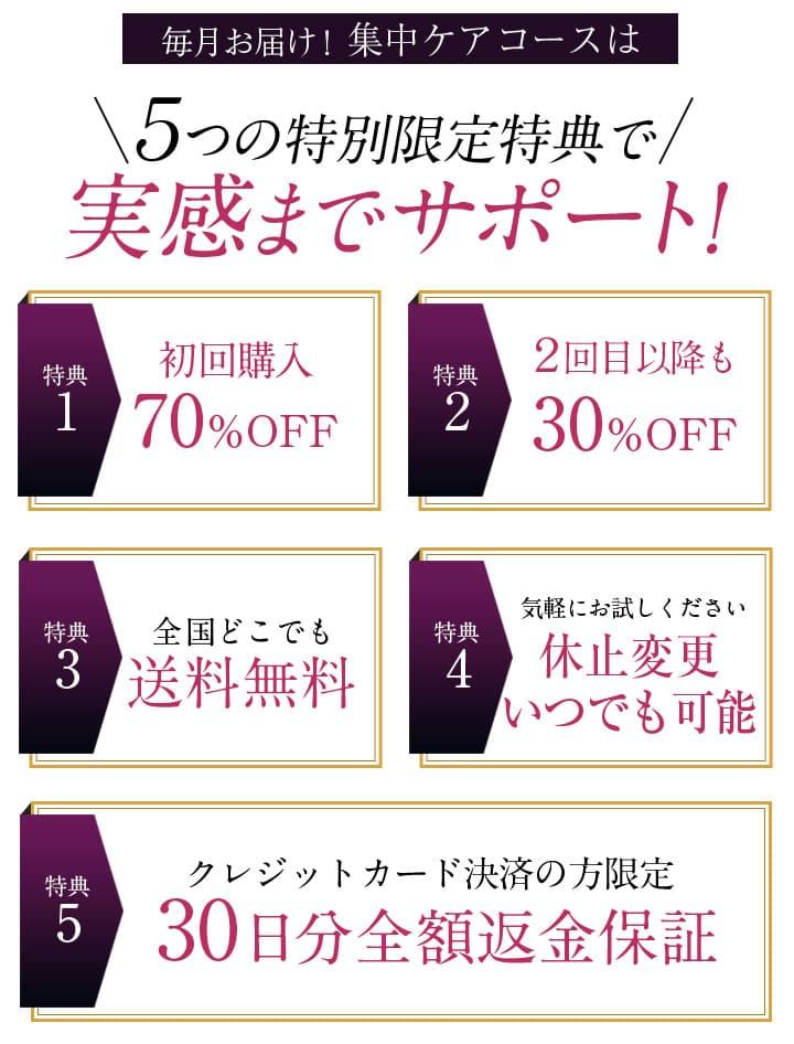 shimaboshiの定期コースは5つの特別限定特典で実感までサポート! 初回70%OFF 30日間全額返金保証