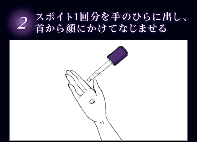 2.スポイト1回分を手のひらに出し、首から顔にかけてなじませる