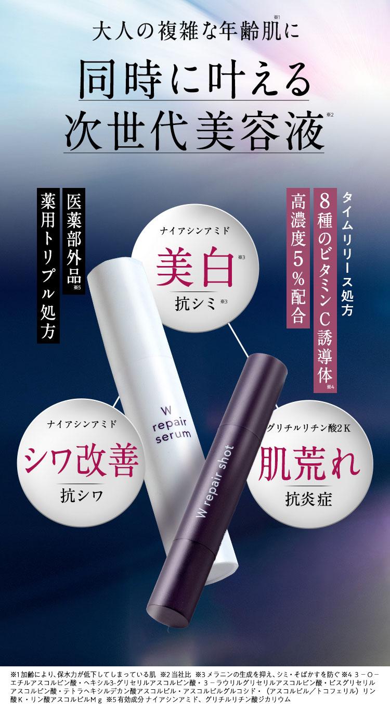 大人の複雑な年齢肌に 同時に叶える次世代美容液 shimaboshi Wリペアセラム Wリペアショット