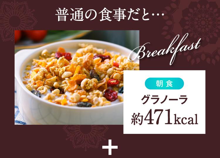 朝食グラノーラのカロリーは約471kcal