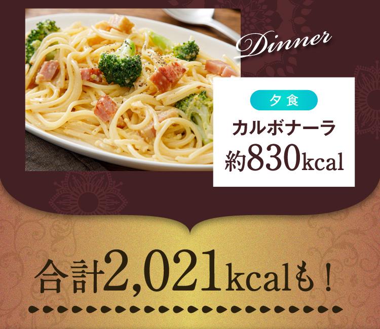 夕食カルボナーラのカロリーは約830kcal、1日の合計は2021kcalも!
