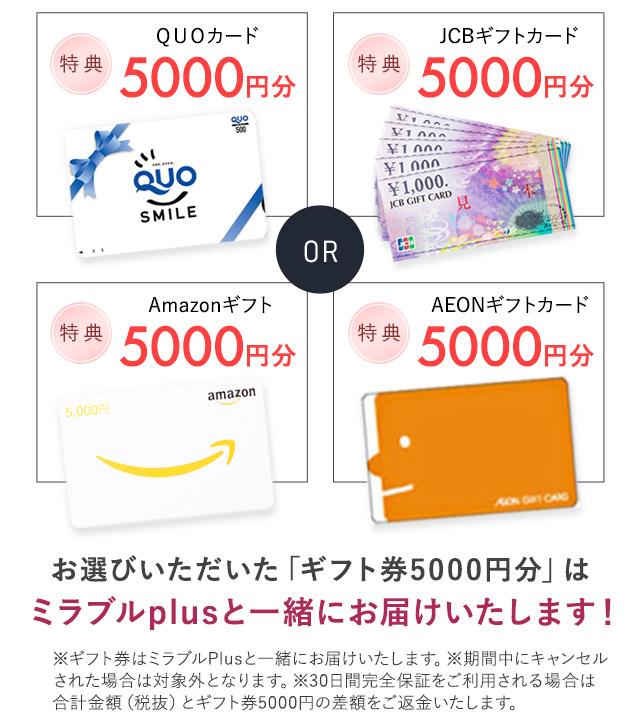 お選びいただいた「ギフト券5000円分」はミラブルプラスと一緒にお届けいたします!