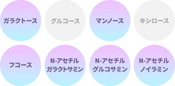 ガラクトース、マンノース、フコース、N-アセチルガラクトサミン、N-アセチルグルコサミン、N-アセチルノイラミン
