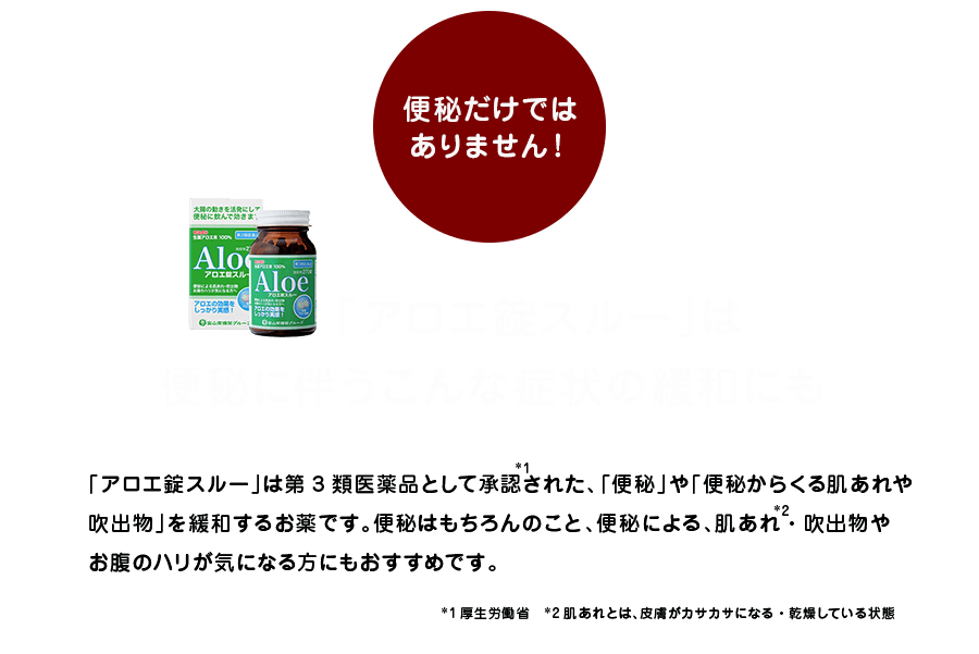 「アロエ錠スルー」は便秘に伴うこんな症状の緩和にも