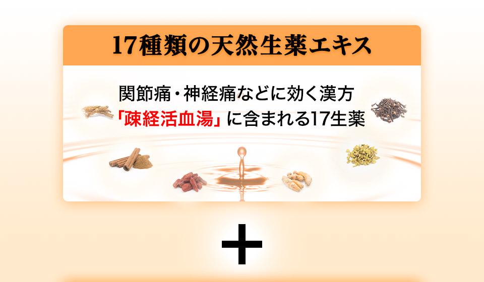 17種類の天然生薬エキス 関節痛・神経痛などに効く漢方「疎経活血湯」に含まれる17生薬 +