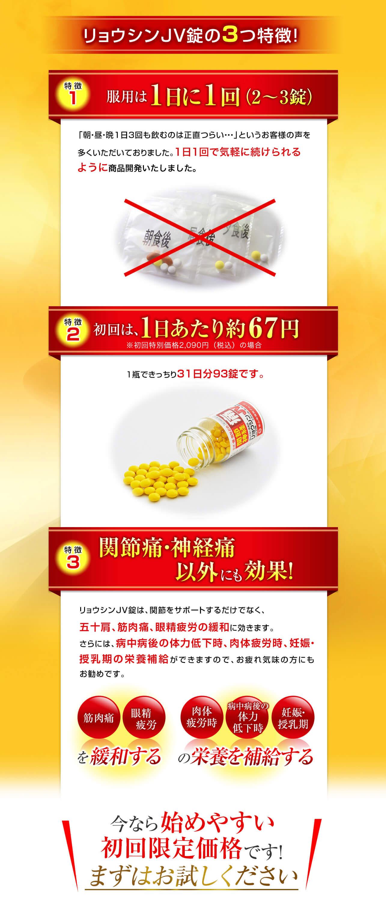 リョウシンJV錠の3つ特徴!