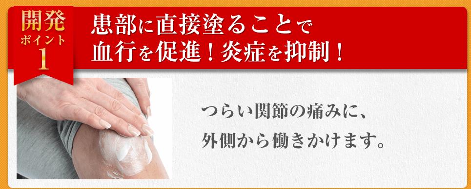 【開発ポイント1】患部に直接塗ることで 血行を促進!炎症を抑制!