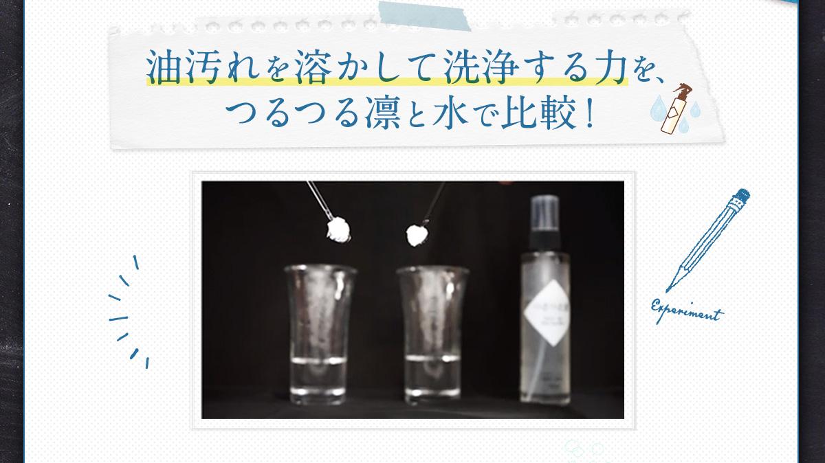 油汚れを溶かして洗浄する力を水と比較