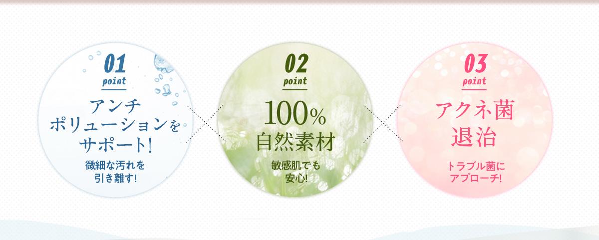 アンチポリューションサポート×100%自然素材×アクネ菌退治