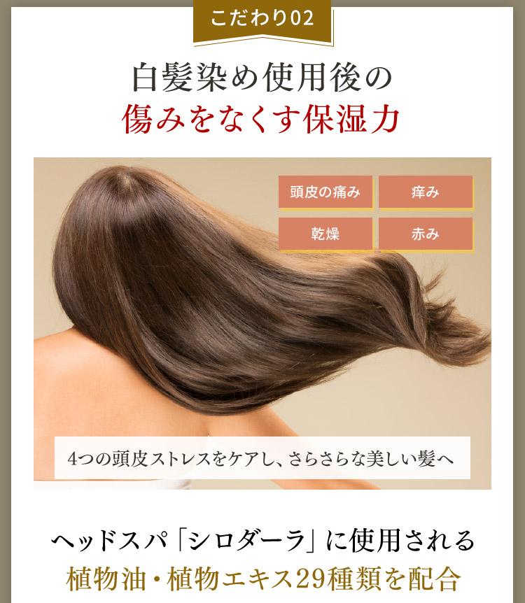 こだわり02 白髪染め使用後の傷みをなくす保湿力 頭皮の痛み 痒み 乾燥 赤み 4つの頭皮ストレスをケアし、さらさらな美しい髪へ ヘッドスパ「シロダーラ」に使用される植物油 植物エキス29種類を配合