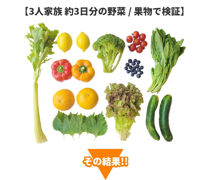 3人家族約3日分の野菜・果物で検証