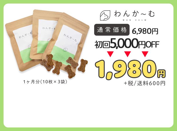1ヶ月分(10枚×3袋) 通常価格 6,980円 初回5,000円OFF 1,980円 +税/送料600円
