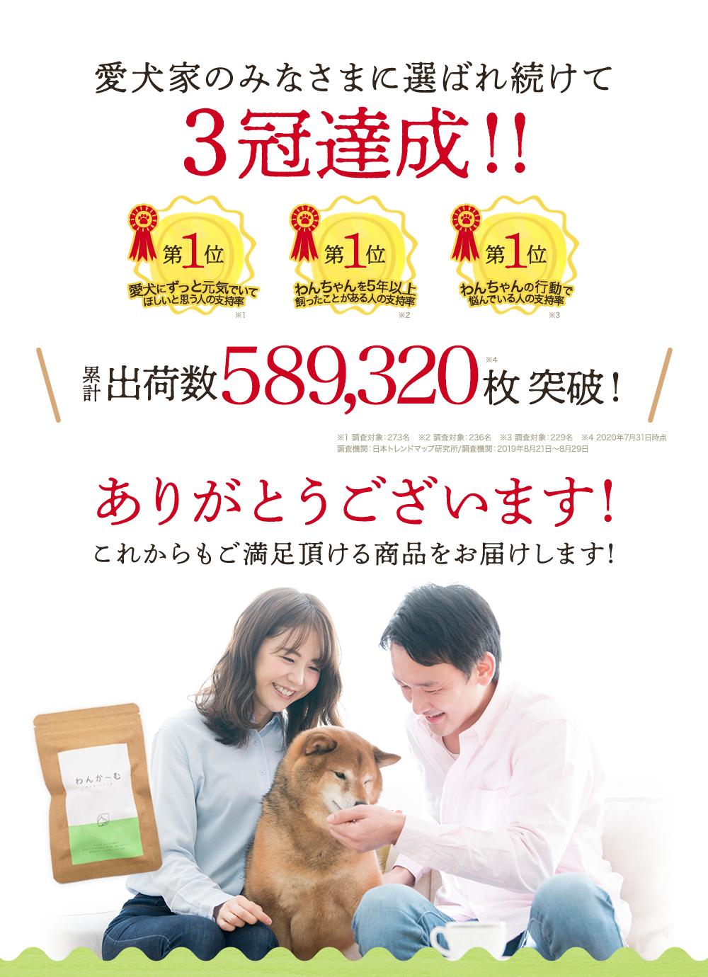 愛犬家のみなさまに選ばれ続けて3冠達成!!