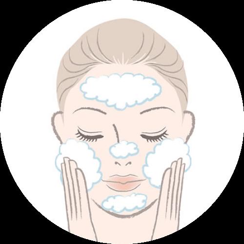 1.手のひらに1袋分をとり、少量の水又はぬるま湯でよく泡立てて洗顔します。